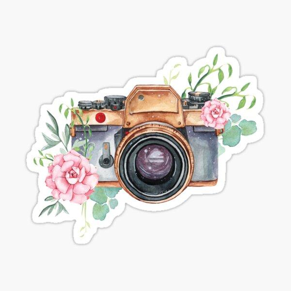 Watercolor camera, watercolor flowers,  photographer gift, photography, camera, flowers Sticker