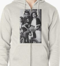 Barbra Streisand as a Child on a Bicycle Zipped Hoodie