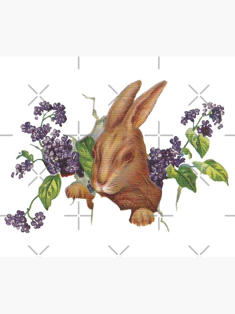 Ostern-Kaninchen, das vom Hintergrund mit Fliedern platzt von ButterflysAttic