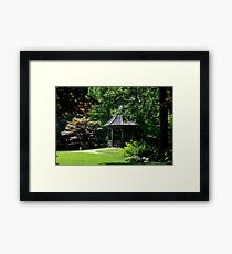 Gibbs Garden Gazebo on a pond Framed Print
