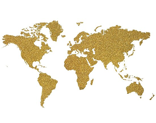 Gold glitter world map by AnnaGo