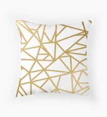 Gold foil geometric mosaic Throw Pillow