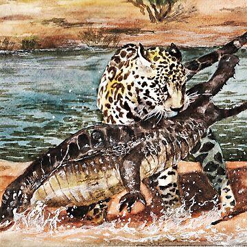 Jaguar and Crocodile by AnnaShell