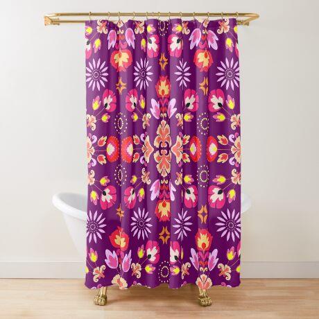 Fiesta Folk Purple #redbubble #folk Shower Curtain