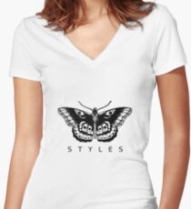 Butterfly Styles Women's Fitted V-Neck T-Shirt