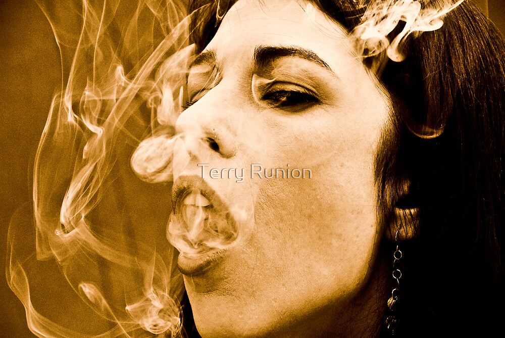 Woman smoking by Terry Runion