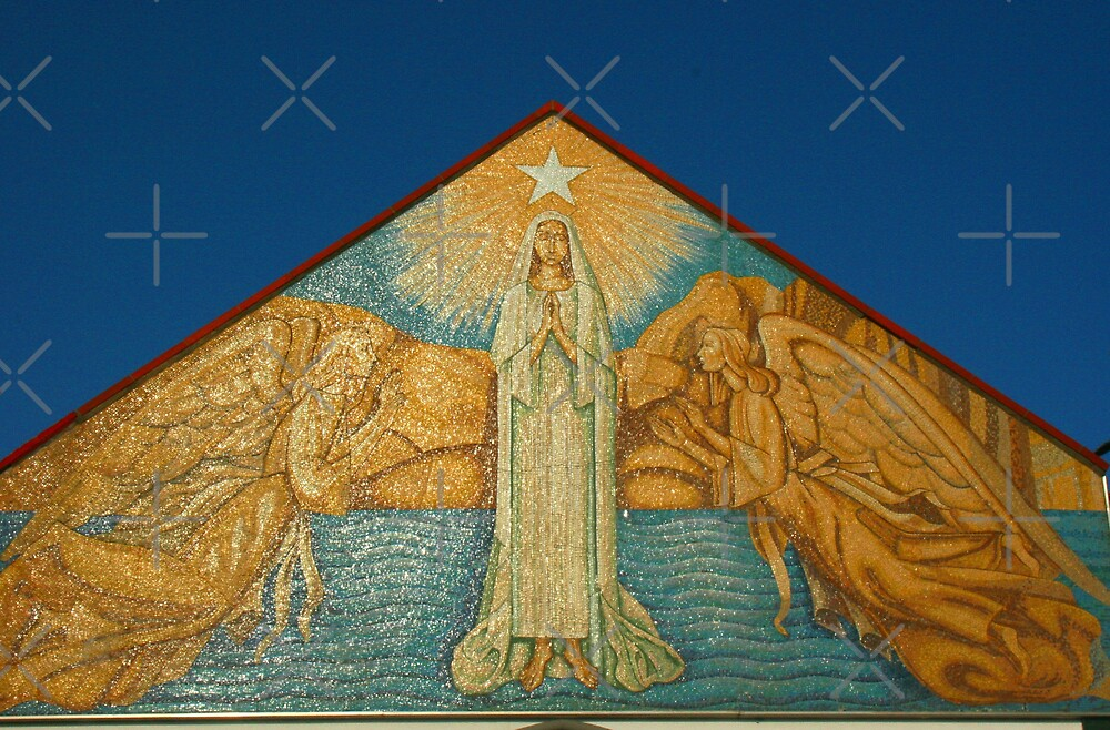 Mary Star of the Sea Church  artwork on front fascade  by Heather Friedman