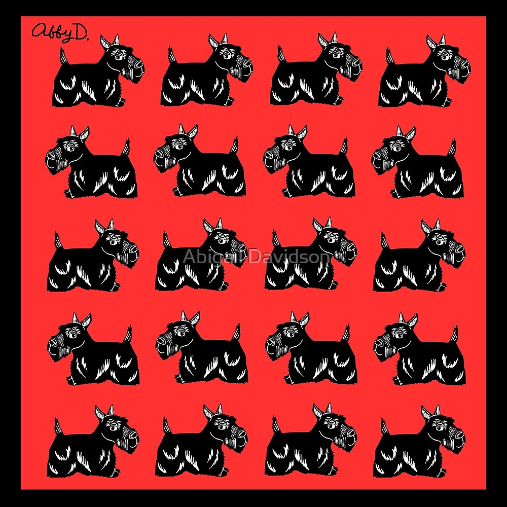 Scottie Dogs Black and Red Pattern by Abigail Davidson