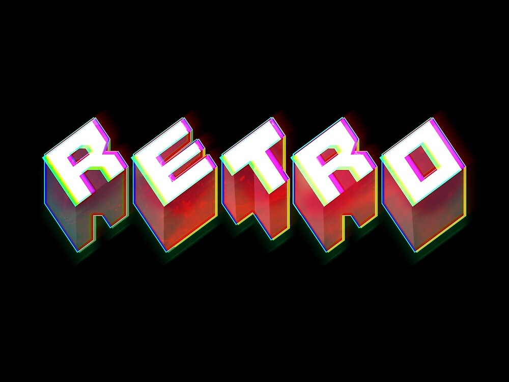 RETRO. 3D Typography cool 1980s/80s Design. by doughballdesign