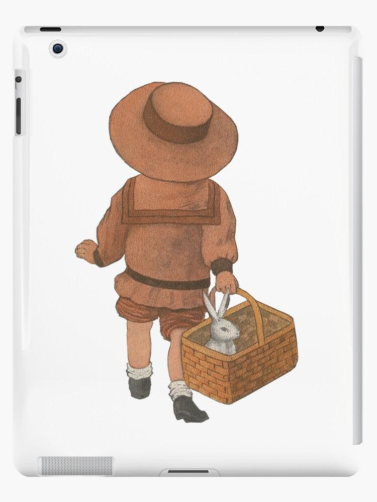 Kleines Mädchen mit Osterhasen im Korb von Colleen Cornelius