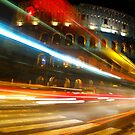 Light trail, Roman Colosseum, Rome, Italy by georgelim