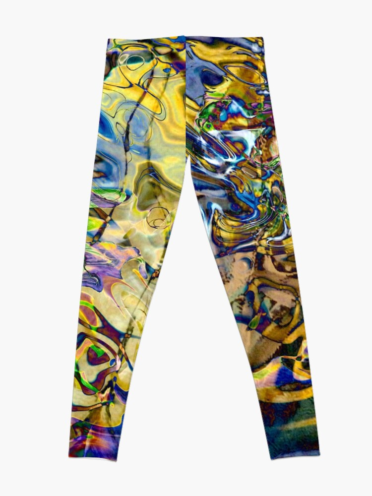 Alternate view of blue yellow objects abstract Leggings