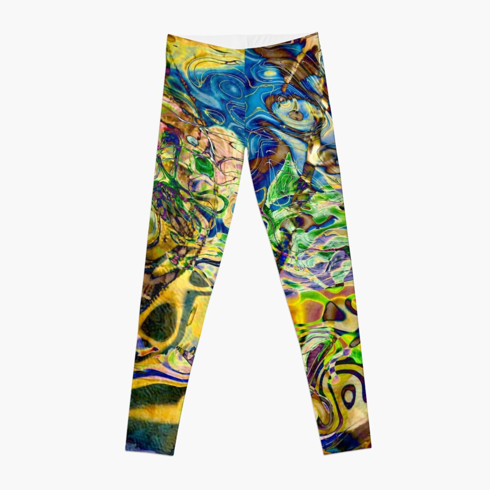 blue yellow objects abstract Leggings