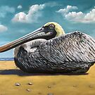 Pelican - Bird portrait nature original oil painting by LindaAppleArt