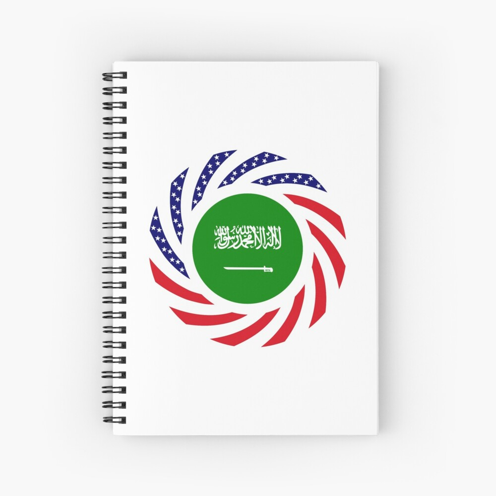 Saudi American Multinational Patriot Flag Series Spiral Notebook