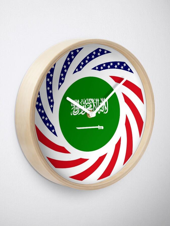 Alternate view of Saudi American Multinational Patriot Flag Series Clock