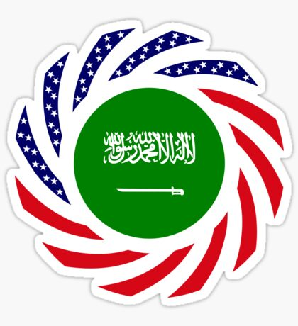 Saudi American Multinational Patriot Flag Series Glossy Sticker