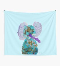 Turquoise purple elephant spirit abstract art  Wall Tapestry