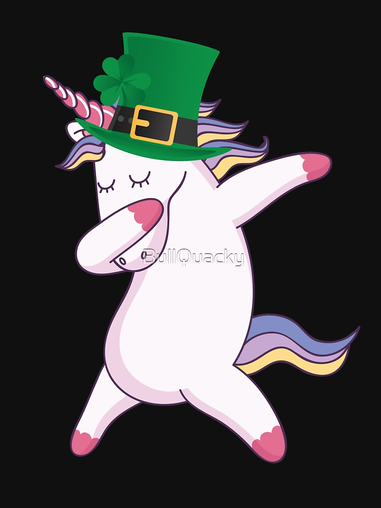 Dabbing Unicorn Wearing a Lucky Leprechaun Hat 4 Leaf Clover - Funny Cute Cartoon Animal Illustration Drawing Saint Patrick's Day Holiday Great Gift by BullQuacky