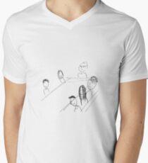 Breakfast With Friends T-Shirt mit V-Ausschnitt