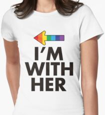 I Am With Her Lesbian Couples Design Womens Fitted T-Shirt