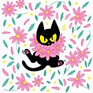 Flower Cat - Pink by hellocloudy