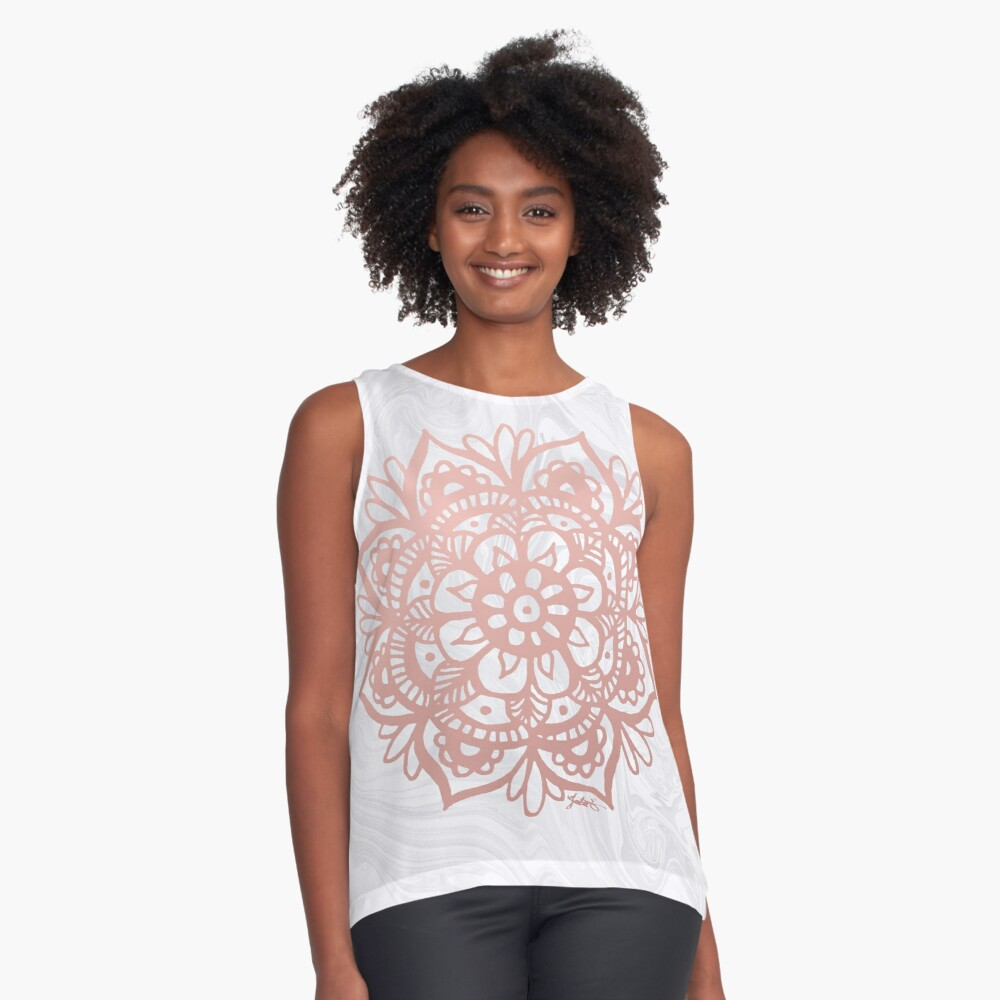 Rose Gold Mandalas on Marble Contrast Tank Front