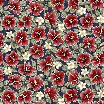 Hibiscus y Plumeria - Granate de miavaldez