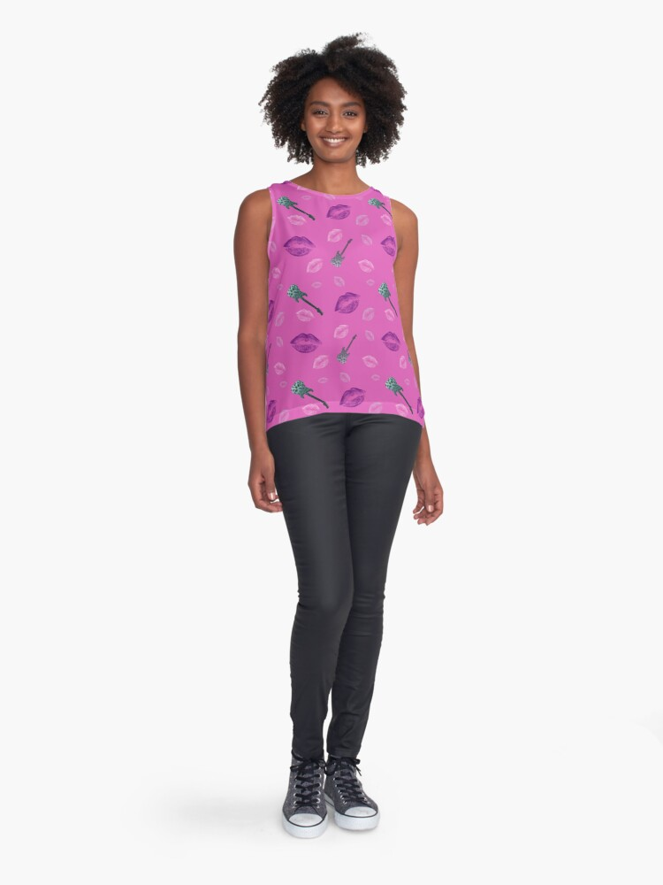 Alternate view of Pink guitar and kiss pattern Contrast Tank