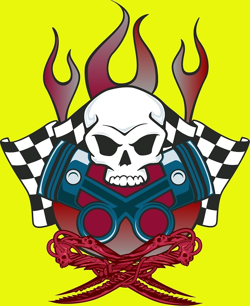 Flaming Racing Skull by anarchasm