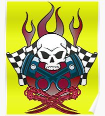 Flaming Racing Skull Poster
