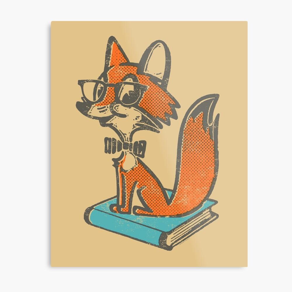 Fox Librarian Metal Print