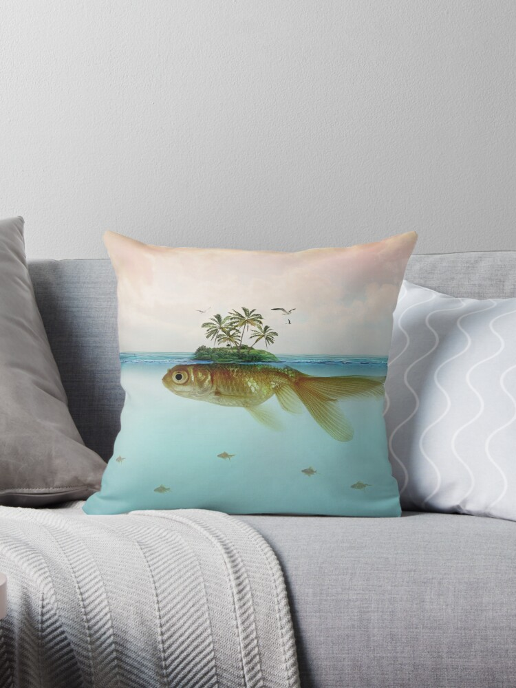 'Goldfish Island' Throw Pillow by Vin Zzep