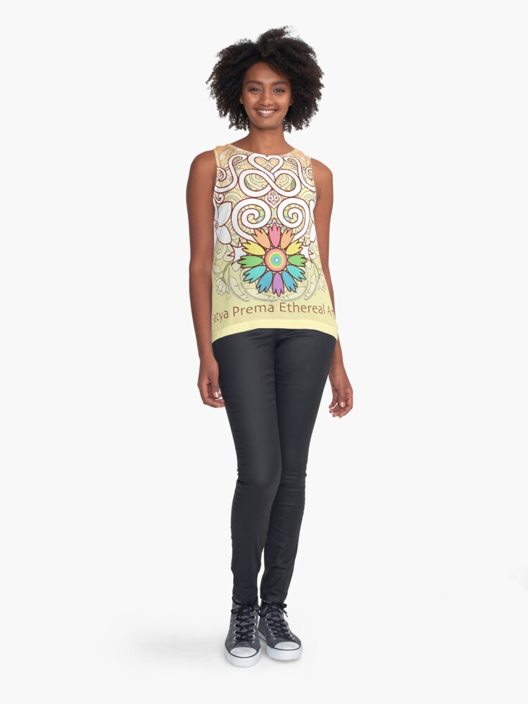 Alternate view of Orange Enlighten Love Mandala Sleeveless Top