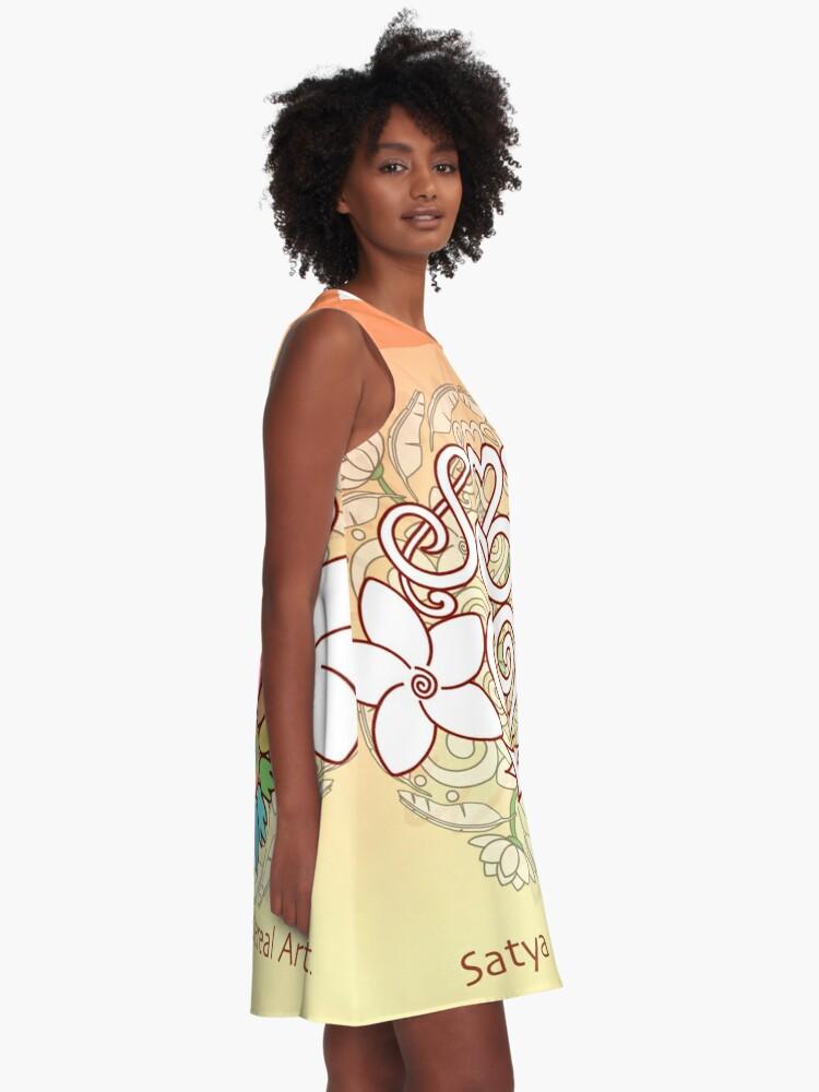 Alternate view of Orange Enlighten Love Mandala A-Line Dress