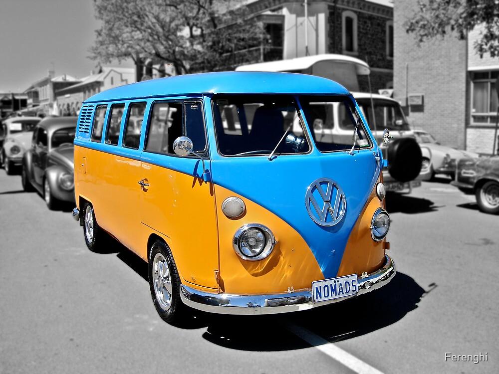 Volkswagen Kombi van in blue and orange. by Ferenghi