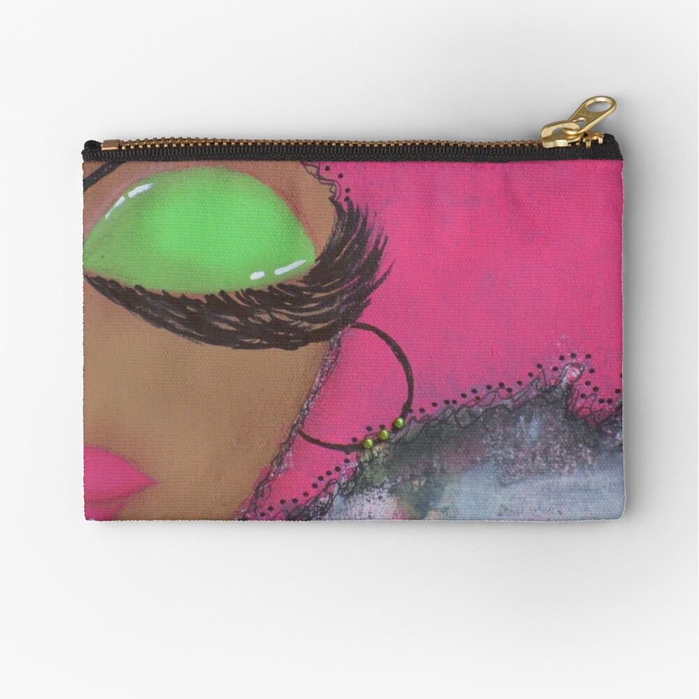 Sassy Girl Pink and Green  Zipper Pouch
