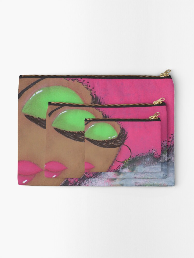 Alternate view of Sassy Girl Pink and Green  Zipper Pouch