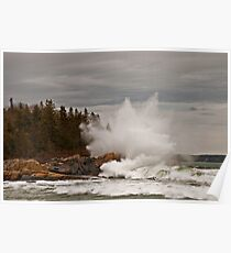 Nor' Easter Surf at Christmas Cove, Maine Poster