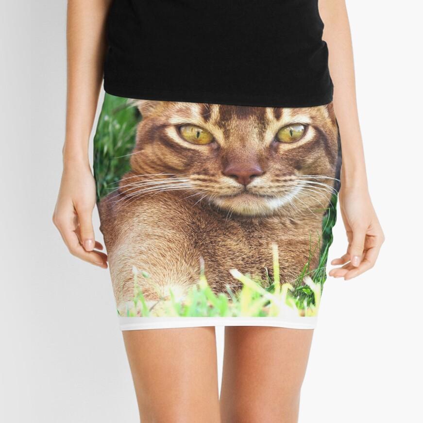 Abyssian Cat in Grass Mini Skirt