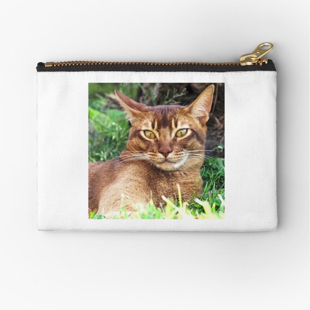 Abyssian Cat in Grass Zipper Pouch