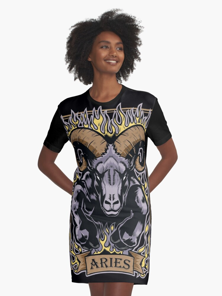 'Aries Zodiac Sun Sign Ram Fire Astrology' Graphic T-Shirt Dress by bsanczel