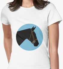 Minimalist Horse → Black/Blue  Women's Fitted T-Shirt