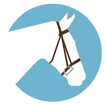 Minimalist Horse → White/Blue  by e-q-u-i-t-a-t-e