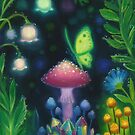 Night Lights Glowing Mushroom Butterfly Scene by Erica Kilbourn