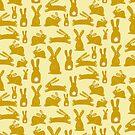 Yellow bunnies on the move by illuminostudio