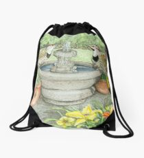 Flickers at the Fountain on a Hot Summer Day Drawstring Bag