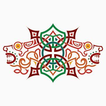 Celtic Heads by derekkered