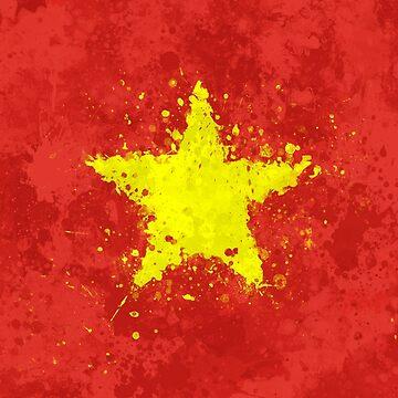 Vietnam Flag - Messy Splatter Grunge by GrizzlyGaz