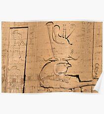 Hieroglyphs at Edfu temple in Egypt Poster